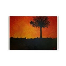 Tree Silhouette Sunset Rectangle Magnet