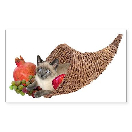 Cat in Cornucopia Rectangle Sticker