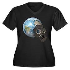 Gas Mask Earth Women's Plus Size V-Neck Dark T-Shi