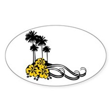 Hibiscus & Palms Oval Decal