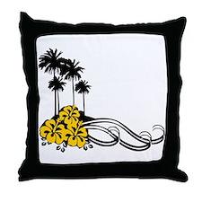 Hibiscus & Palms Throw Pillow
