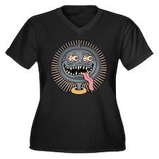 Pan Ned Women's Plus Size V-Neck Dark T-Shirt