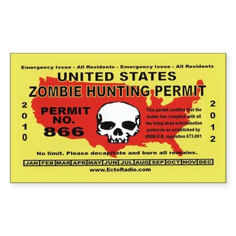Zombie Hunting Permit Stickers (Rectangle 50 pk)