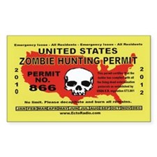 Zombie Hunting Permit,Stickers Bumper Stickers