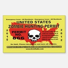 Zombie Hunting Permit,Stickers Decal