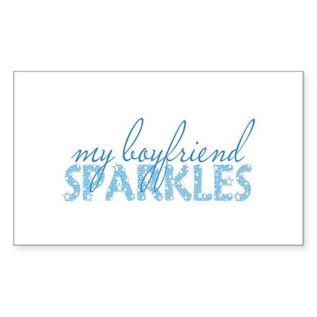 my boyfriend sparkles Rectangle Sticker