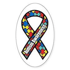 Autism Ribbon Oval Bumper Stickers