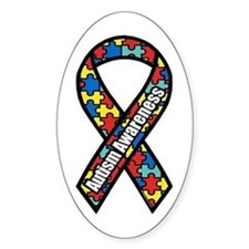 Autism Ribbon Oval Stickers