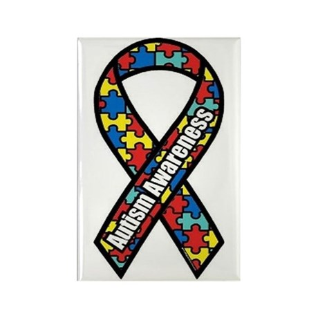 Autism Ribbon Rectangle Magnet (100 pack)