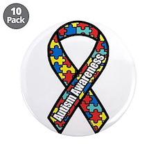 "Autism Ribbon 3.5"" Button (10 pack)"