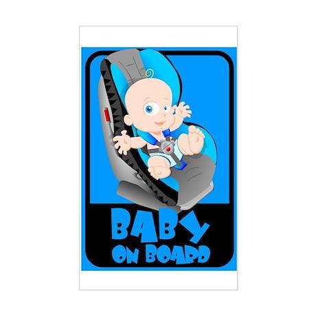 Baby Onboard - Blue Rectangle Sticker
