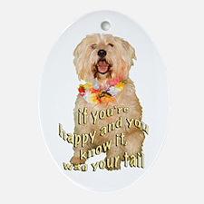 happy wheaten terrier Oval Ornament