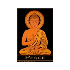 Rectangle Peace Magnet, Golden Budda Image