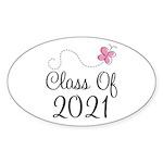 Sweet Pink Class Of 2021 Oval Sticker (10 pk)