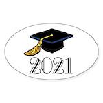 Classic 2021 Grad Oval Sticker (10 pk)