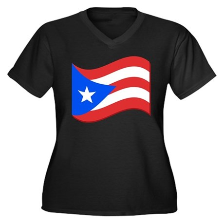 Puerto Rico Flag Women's Plus Size V-Neck Dark T-S