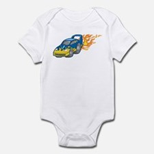 Blue Sports Car Shooting Flam Infant Bodysuit