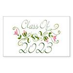 Flowered Class Of 2023 Rectangle Sticker 10 pk)