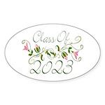 Flowered Class Of 2023 Oval Sticker (50 pk)