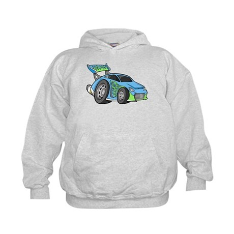 Sky Blue Sports Car with Gree Kids Hoodie