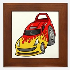 Red Sports Car with Yellow Fl Framed Tile