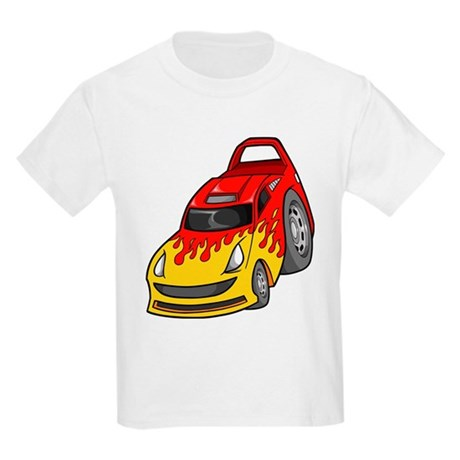 Red Sports Car with Yellow Fl Kids Light T-Shirt