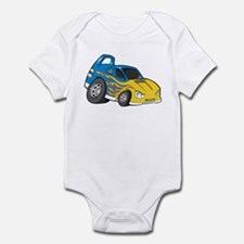 Blue Sports Car with Yellow F Infant Bodysuit