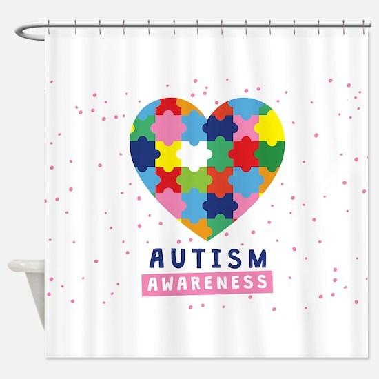 pink autism awareness Shower Curtain