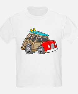Red Woodie with Surfboards T-Shirt