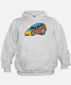 Blue Woodie with Yellow Flame Hoodie
