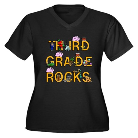Third Grade Rocks Women's Plus Size V-Neck Dark T-