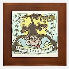 Spunky Little Monkey Framed Tile