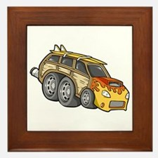 Yellow Woodie with Surfboards Framed Tile
