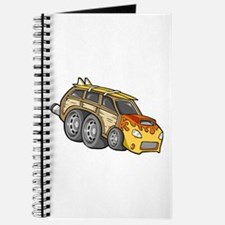 Yellow Woodie with Surfboards Journal