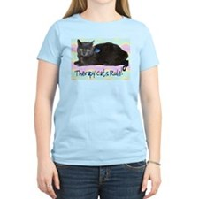 """Therapy Cats Rule!"" Women's Pink T-Shirt"