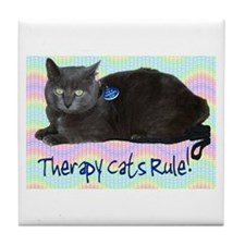 """""""Therapy Cats Rule!"""" Tile Coaster"""