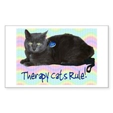 """""""Therapy Cats Rule!"""" Rectangle Decal"""