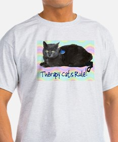 """""""Therapy Cats Rule!"""" Ash Grey T-Shirt"""