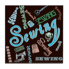 Sewing Aqua Tile Coaster