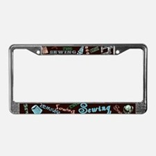 Sewing Aqua License Plate Frame