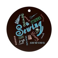 Sewing Aqua Ornament (Round)