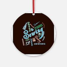 Sewing Aqua Ornament (Round)