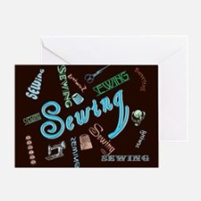 Sewing Aqua Greeting Card