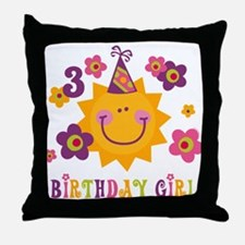 Sun 3rd Birthday Throw Pillow