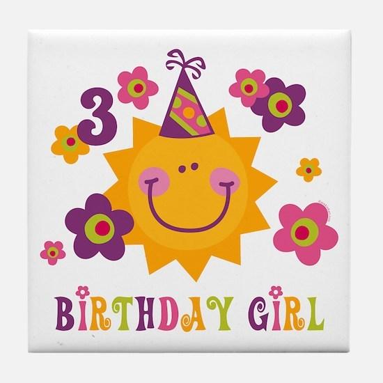 Sun 3rd Birthday Tile Coaster