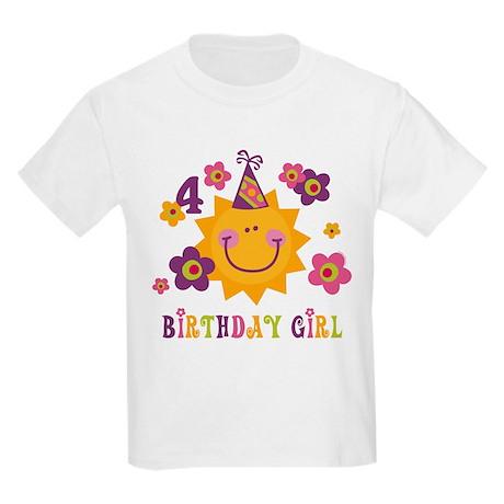 Sun 4th Birthday Kids Light T-Shirt