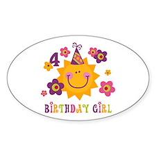 Sun 4th Birthday Oval Decal