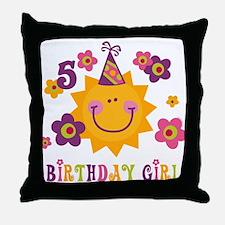 Sun 5th Birthday Throw Pillow
