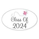 Sweet Pink Class Of 2024 Oval Sticker (50 pk)