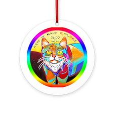 Rainbow Cat Ornament (Round)